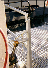 OSHA fall protection wide gangway prevents spotting errors in your loading rack